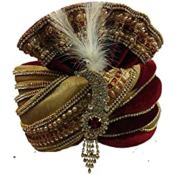 J.tushar Men's Crepe Silk Wedding Turban (Maroon & Golden_Free Size)