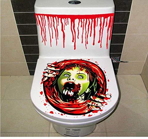 HHZDH Wandaufkleber Halloween blutige Hand Toilette Abdeckung Party Dekoration Aufkleber Prop beängstigend Zombie Dekoration zubehör Halloween Toilette Abdeckung