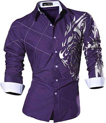 Jeansian uomo camicie maniche lunghe moda men shirts slim fit causal long sleves fashion z030 purple l