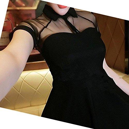 Preisvergleich Produktbild EVTECH (TM) Sommer-Frauen Euramerican Art-Kleid-süße Gaze-Hemd-Kragen Bodycon Rock Schwarz - XL