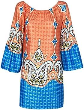 Honghu Donna Casuale Print Estate Spiaggia Loose Blouse Vestito Corto Camicette