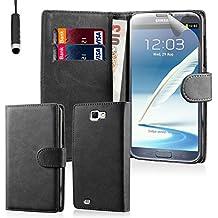 32nd® Funda Flip Carcasa de Piel Tipo Billetera para Samsung Galaxy Note 2 N7100 con Tapa y Cierre Magnético y Tarjetero - Negro