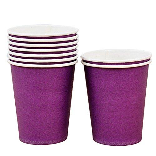 wdoit 10 Stuck Einmalige Umweltfreundliche Hygiene Papier Hot Drink Cup Milch Kaffee Softdrinks Hochzeit Party Geburtstag (lila B) -