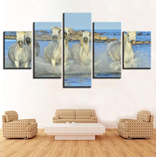 Home Wandkunst Moderne HD Print Decor Bild 5 Stück Tiere White Horse In The Water Running Landschaft Modular Leinwand Gemälde 40x60 40x80 40x100 -