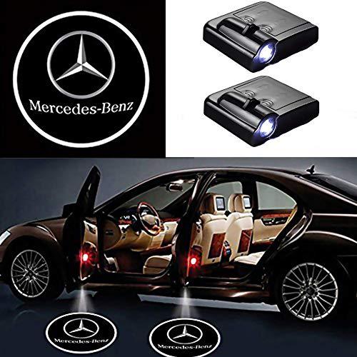 Autotür Logo Licht, 2PCS LED Auto Projektor Logo Geist Schatten Licht Türbeleuchtung Willkommen Lampe Drahtlose Laser Projektor Logo Licht (für Mercedes Benz)