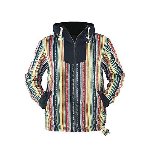 virblatt - Poncho Baja Hoodie goa Jacke Jerga Ethno Pullover Baja Jacke Herren Mexican Hippie Kleidung Maastricht S