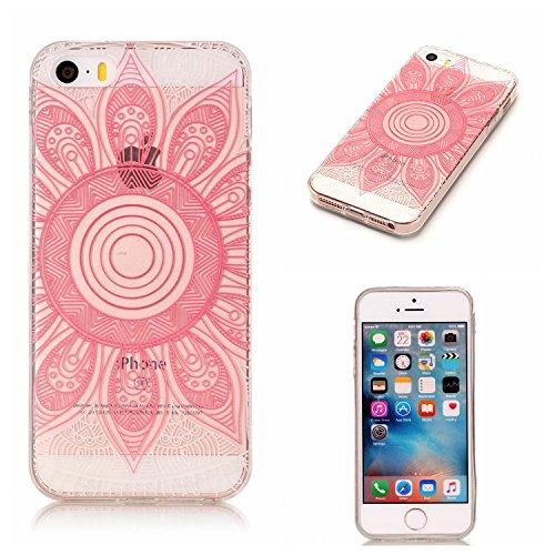 Coque iPhone 5S, Étui iPhone SE, iPhone 5S/iPhone SE Case, ikasus® Coque iPhone 5S/iPhone SE Étui Housse avec Mandala Fleur Papillon Hibou Couleur peinte Transparent TPU Silicone Étui Housse Téléphone Mandala rose
