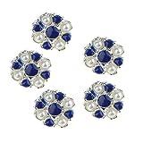 B Baosity 5 Stück Legierung Metall Blumen Strass Perlen Flatback Verzierungen Knöpfe Buttons - Blau und Beige 10mm