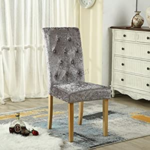 FoxHunter WestWood Furniture Set of 4 Premium Crush Velvet Fabric Dining Chairs Roll Top Scroll High Back with Solid Wood Legs Seat Contemporary Modern Living Room Lounge Office DCF06 Grey