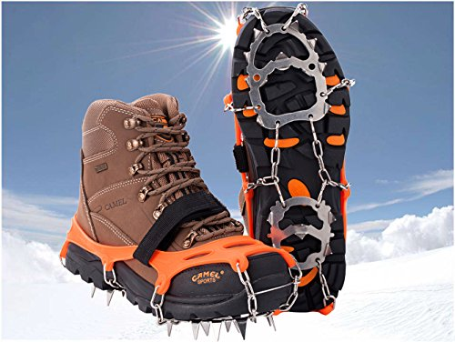 19 Dientes de Acero Inoxidable de Crampones Antideslizante Raquetas de Nieve,al Aire Libre de Esqui de Senderismo en… 1