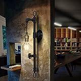 Rohr Wandleuchte OYI Vintage Wandlampe Industrielampe E27 Lampenfassung Metall Schwarz mit Dekorativ Schalter für Café Wohnung Küche Bar Arbeitzimmer Esssaal Keller Kopfende