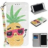 FNBK iPhone 7 Plus Hülle Leder,iPhone 8 Plus Flip Tasche Silikon Schutzhülle Wallet mit Magnetverschluss Stand Kartenfächer Lanyard Handyhülle Kompatibel für iPhone 7 Plus/iPhone 8 Plus 5.5
