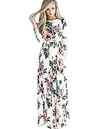 Landove Vestito Lungo Elegante Donna Cerimonia Abito Maniche 3 4 Vestiti  Stampa Floreale Scollo a V Casual Mode Bohemian Abiti… 111ec85f297
