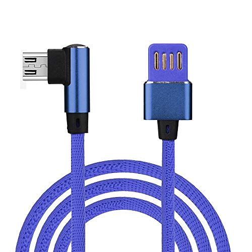 USB Kabel Ladekabel Quick-Charge USB Verbindungskabel HDMI-Kabel stabil Datenübertragung Datenkable 1M Nylon geflochtenes Micro USB 90 Grad rechtwinklig 2A Schnelles Daten-Sync-Ladegerät-Kabel -