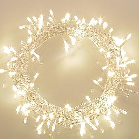 100er LED Outdoor Lichterkette Batterienbetrieben mit Timer Warmweiß deal für CHRISTMAS, Festlich, Hochzeiten, Geburtstag, PARTY, NEW YEAR Dekoration, HÄUSER ETC (8 Modi, 11M Durchsichtigen Kabeln, IP65 Wasserdicht, Außenbeleuchtung)