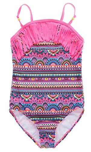 Attraco Mädchen Bikini Bunt Einteiler Tribal Badeanzug Mädchen Tankini Quaste Mehrfarbig Rosa 8-9 Jahre( Herstellergröße 10 ) (Badeanzug Kinder Rosa)