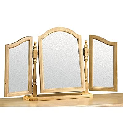 Simple And Sophisticated Pickwick Solid Pine Triple Mirror - Very Robust Mirror For Placing Upon Your Dressing Table - Provides You With An Excellent View And Is Perfect When Putting On Make-Up Or Styling Your Hair