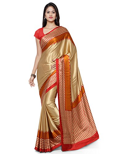 AppleCreation Crepe Saree With Blouse Piece(Jpq5802A_Gold Free Size)