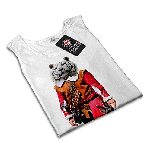 Tiger Ritter Cool Komisch Kostüm Katze Damen Schwarz S-2XL Muskelshirt | Wellcoda Weiß