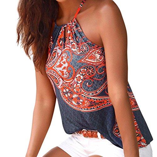 DAY8 Femme Vetements Chic Soiree Éte Pas Cher Chemise Haut Femme Grande Taille Fleur T-Shirt Femme Boheme Gilet Débardeurs Femme Mode Top Blouse Chemisier Fille Veste Tank Printemps (M, Bleu)