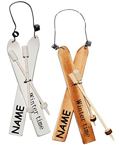 alles-meine.de GmbH 1 Set _  Ski mit Stöcken - Winter Time  - incl. Name - aus Holz - 16 cm - Winterurlaub / Weihnachten - Deko - Sport - Miniatur / Diorama - Weihnachtsdeko / ..