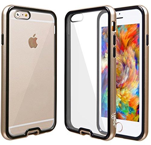 """IPhone 6 (4.7 """") étui transparent joah back fusion   coque de protection pour apple iPhone 6 4.7"""" rayures transparents slim fit coque de couverture avec selle absorbant shock tPU hybrid -autoschutziPh - or"""