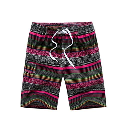 NiSeng Hommes Stripes Imprimé Casual Shorts De Plage Short De Bain Boardshorts Rouge