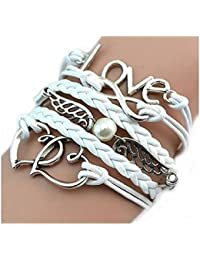 CargoMix® Infinity-Armband Liebe, Silber Weiß / Unendlich / besser Lederband / Anhänger / One Direction / Herz / Flügel