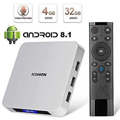 Android TV Box, Superpow Smart Internet TV Box 8.1 with 4GB RAM 32GB ROM,Rockchip 3328 Quad-core Cortex-A53 Up to 1.5GHz WiFi Support 4K Full HD with Remote Control