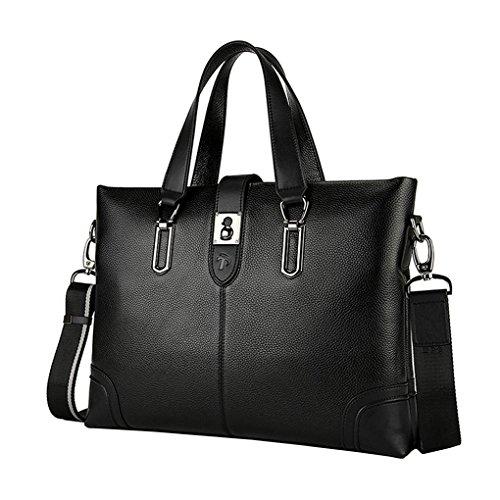 KAXIDY Leder Tasche Aktentasche Aktenkoffer Businesstaschen Aktentaschen (Schwarz) Schwarz
