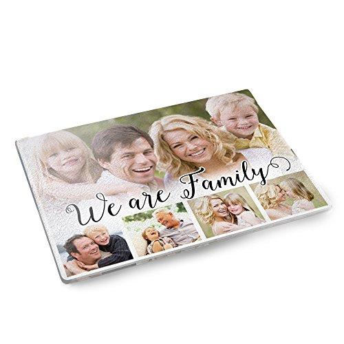 Personello® Glasschneidebrett mit Fotos und Wunschtext (personalisierbar), Schneidebrett mit Fotos bedrucken, Geschenke für Hobbyköche, originelles Fotogeschenk