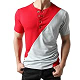Anglewolf Fashion Men Short Sleeve Buttons O-Neck Tops Slim Fit Pollover Shirts Color Block Patchwork Tops Daily Work T-Shirts Soft Cotton Shirts Handsome Comfy Tops (Red,S)