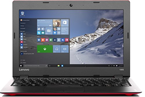 Lenovo 100S-11IBY 29,26 cm (11,6 Zoll HD) Laptop (Intel Atom Z3735F Quad-Core Prozessor, 2GB RAM, 32GB eMMC, Intel HD Grafik, HDMI, Windows 10 Home) Rot