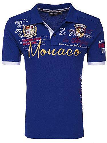 behype. Herren Kurzarm Polo-Shirt Monaco T-Shirt 20-3040 Blau 4XL