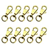 10 Stück 4,9 cm Länge Gold Ton Karabinerhaken Karabiner Verschlüsse Drehgelenk für Handtasche Tasche Gepäck Auto Haus Schlüssel Ring DIY Craft