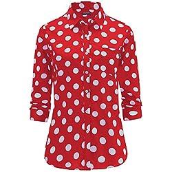 Dioufond® Camisas Mujer Manga Larga Estampada de Lunares de Moda de Casual Camisetas (Rojo+38)
