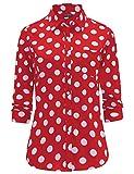 Dioufond Klassics Damen Pflegeleicht Baumwollhemd Langarm Punkte Design Bluse Tupfen-Druck Formal Plain Arbeit Shirts Polka Dot Oberteile mit Tasche(5XL, Rot)