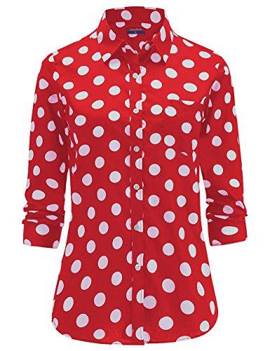 Dioufond Camisas Mujer Manga Larga Estampada de Lunares de Moda de Casual Camisetas (Rojo+34)
