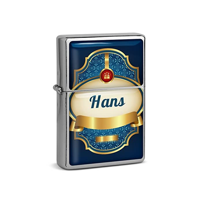 PhotoFancy® - Sturmfeuerzeug Set mit Namen Hans - Feuerzeug mit Design Wappen 2 - Benzinfeuerzeug, Sturm-Feuerzeug