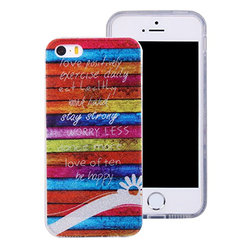 Ecoway iPhone 5 5S 5G / iPhone SE Case Cover, Coque de téléphone IMD Silicone Housse en silicone Housse de protection Housse pour téléphone portable pour iPhone 5 5S 5G / iPhone SE - Rainbow