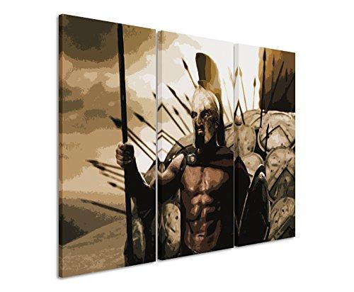 Leinwandbild 3 teilig 300_Leonidas_3x90x40cm (Gesamt 120x90cm) _Ausführung schöner Kunstdruck auf echter Leinwand als Wandbild auf Keilrahmen