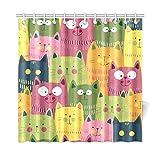 JOCHUAN Wohnkultur Bad Vorhang Cartoon Grün Gelb Und Rosa Katzen Polyester Stoff Wasserdicht Duschvorhang Für Badezimmer, 72 X 72 Zoll Duschvorhänge Haken Enthalten
