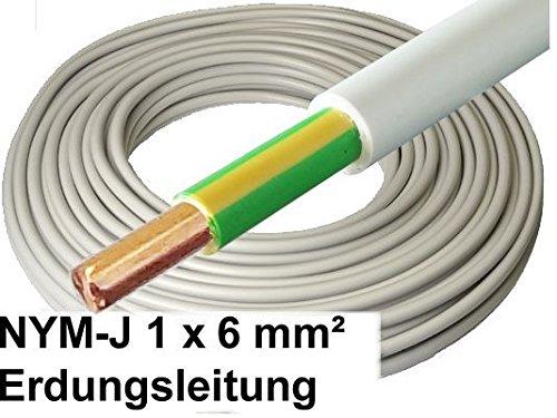 50 Meter - 1x6mm² Potentialausgleich Erdungskabel - NYM-J 1x 6mm² grau