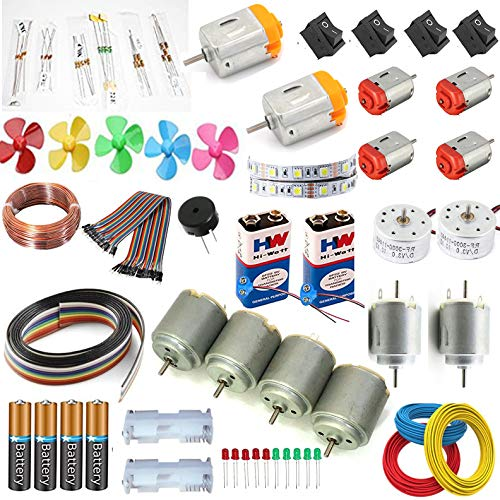 5 Types 14 pcs dc Motor kit with Buzzer and Jumber/ 2000 RPM to 20000 RPM dc motor/10 Types Resistor kit/High Speed Motor Kit with Battery Set - Pack of 50