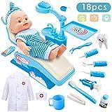Buyger Arzt Spielzeug Doktor Kostüme Dentist Arztkittel Medizinisches Rollenspiel Geschenk für Kinder Mädchen Jungen (Blau)