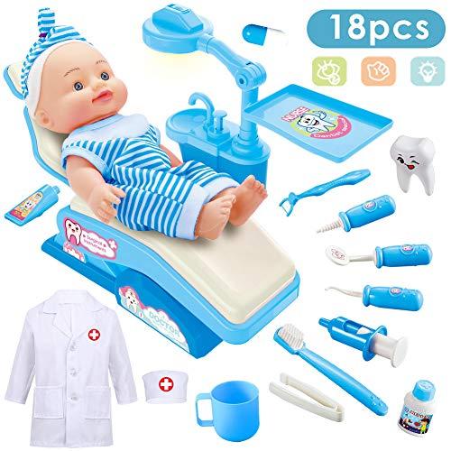 Kostüm Mädchen Zahnarzt - Buyger Arzt Spielzeug Doktor Kostüme Dentist Arztkittel Medizinisches Rollenspiel Geschenk für Kinder Mädchen Jungen (Blau)