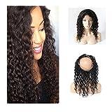 """Mufly Bresiliens 100% cheveux humains Lace Front Extensions de Cheveux Vierges Humain Hair 360 Degre Retour Bande Elastique 360 Frontal Lace Closure Hairline Naturel Deep Wave 16"""" Ondulé Niveau de 9A..."""