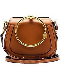11 Colors NEW Ring Handle Luxury Handbags Women Bags Designer Rivet Hoop Saddle Split Leather Crossbody Bags For...