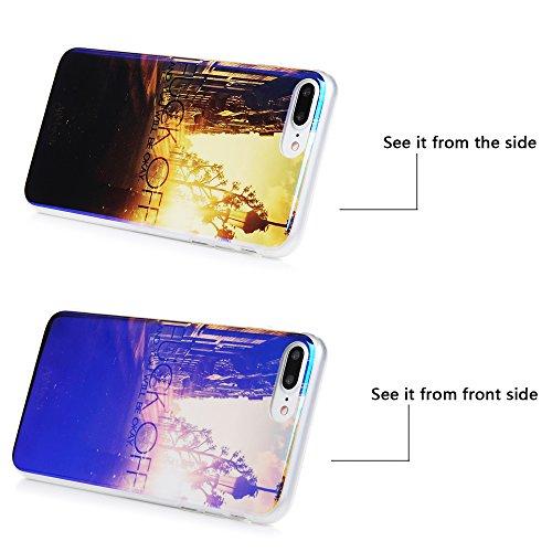 Badalink Coque iPhone 7 Plus, Case Housse Bumper Coque de Protection TPU Silicone Gel Transparent Souple Flexible Ultra Mince Slim Léger Anti Rayure Antichoc Housse iPhone 7 Plus Coque Motif Galaxie Soleil
