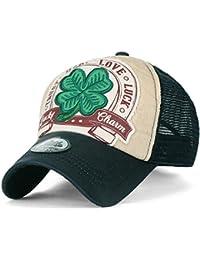 ililily Four Blatt Clover Flicken künstliches Leder Krempe Trucker Cap Hut Baseball Cap